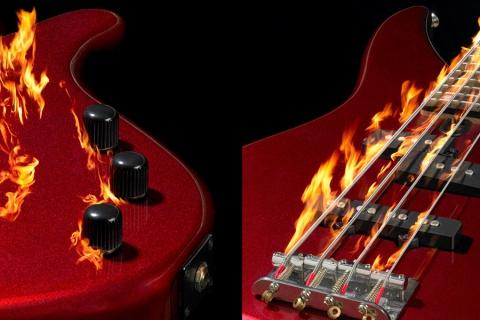 freie Arbeit brennende Gitarre